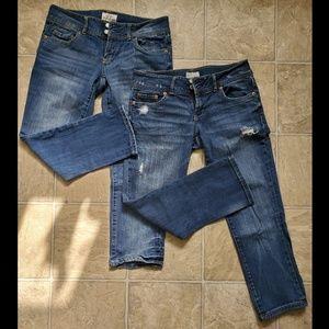 2 pairs Jean Capris Size 3/4